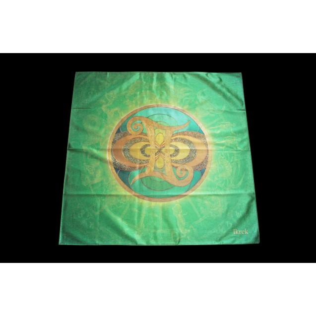 Ikrek - Zöld 70x07 cm-es szatén terítő
