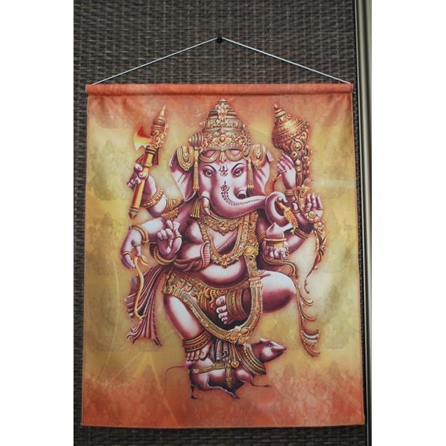 Ganesha - Barna 40x50 cm-es szatén akasztós kép